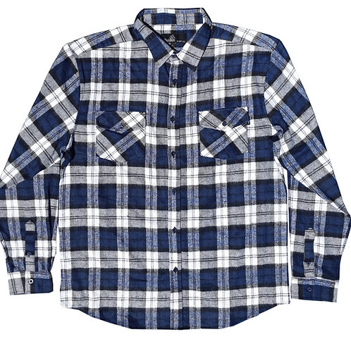 White and Navy Flannel