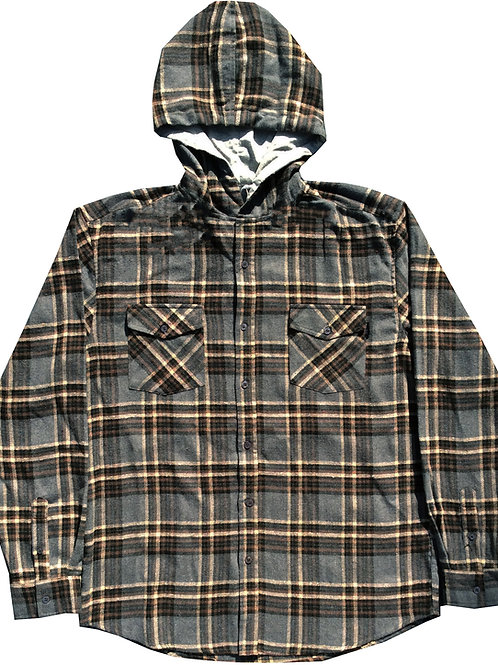 Charcoal and Brown Hooded Flannel