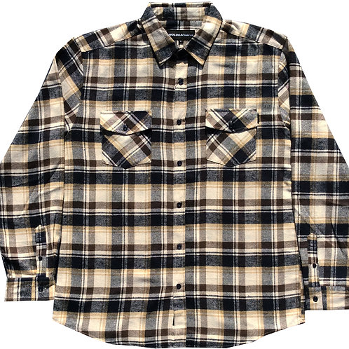 Cream and Brown Plaid Flannel