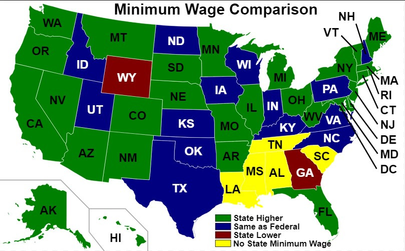 Minimum wage comparison across states