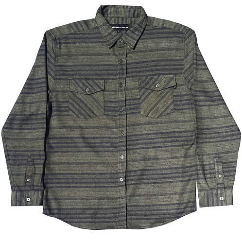 Olive Green Striped Flannel