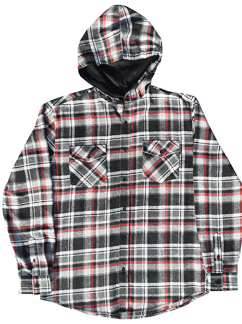 Red and Black Hooded Flannel