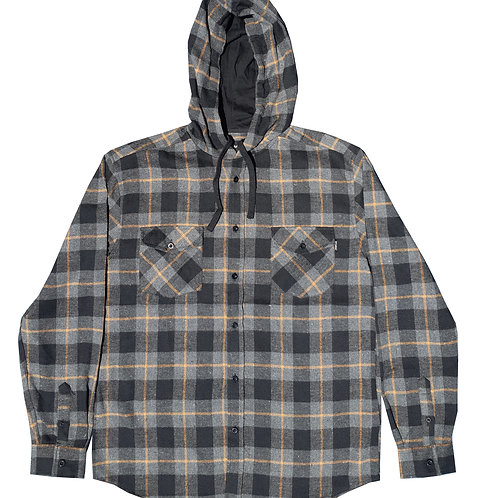 Hooded Grey and Black Flannel
