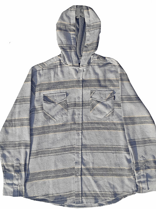 Grey Striped Hooded Flannel