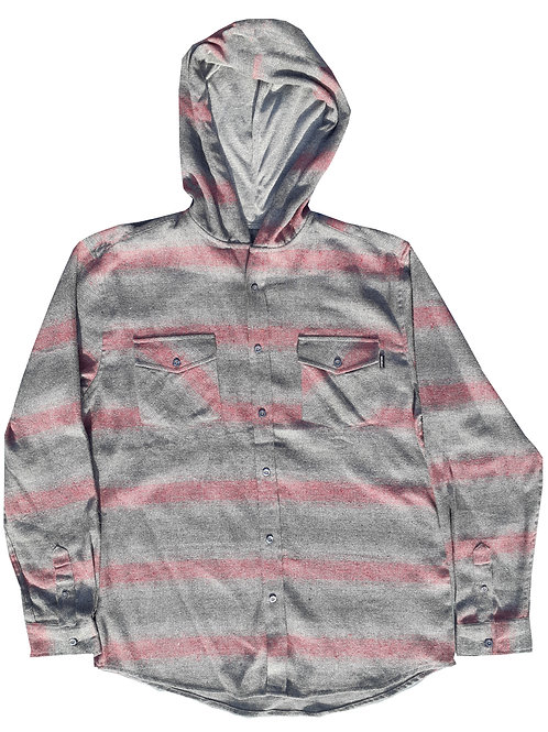 Red and Grey Hooded Flannel