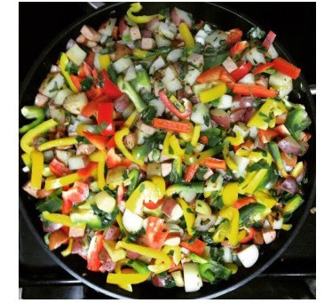 Sausage, potatoes and bell peppers
