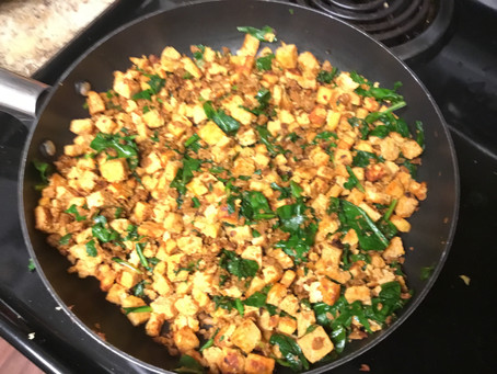Soyrizo, tofu and spinach blend