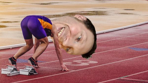 Martin Whiskin preparing for a race
