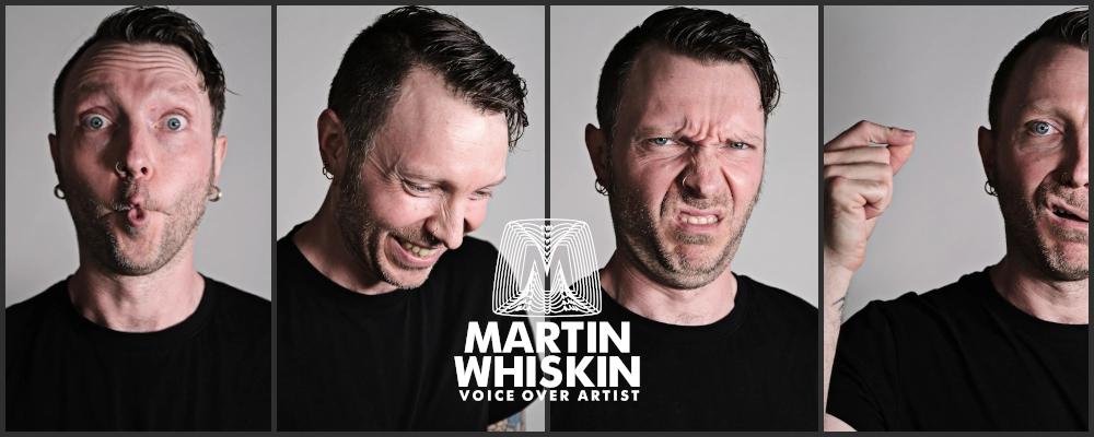 Four headshots of voiceover artist Martiun Whiskin