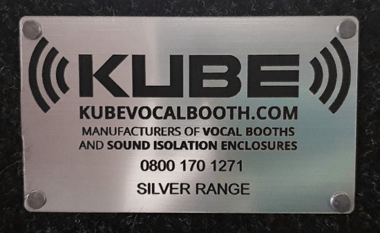 A plaque showing Kube vocal booths contact details
