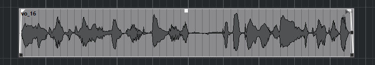 A voice waveform in Cubase with fades