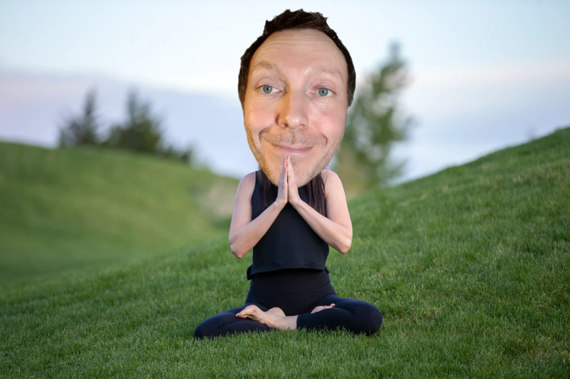 Voice actor Martin Whiskin meditating on a hill