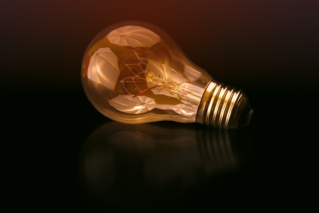 A light bulb on a surface
