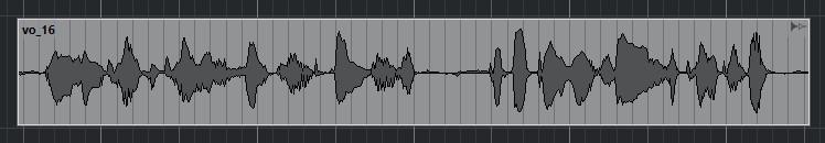 A voice waveform in Cubase