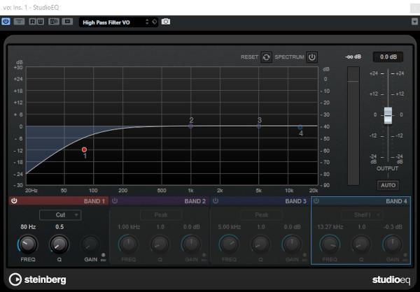 A high pass filter EQ setting in Cubase