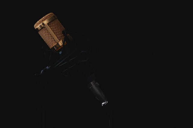A condenser microphone in its cradle, in a dark room.