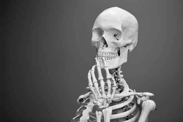 A skeleton looking thoughtful