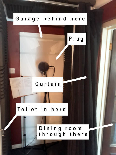 A temporary set up for a vocal booth