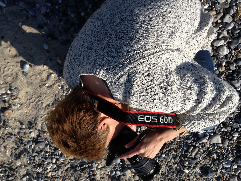 Doug photographing Kym, photographing something