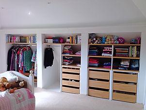 Bespoke open wardrobe, design, installed, spacious