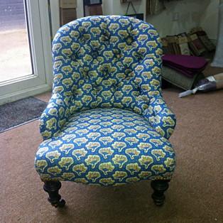 Designer Fabric on Antique Furniture