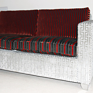 Reupholstered Sofa with Designer Fabric