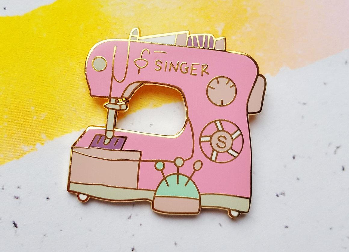 Sewing machine enamel pin