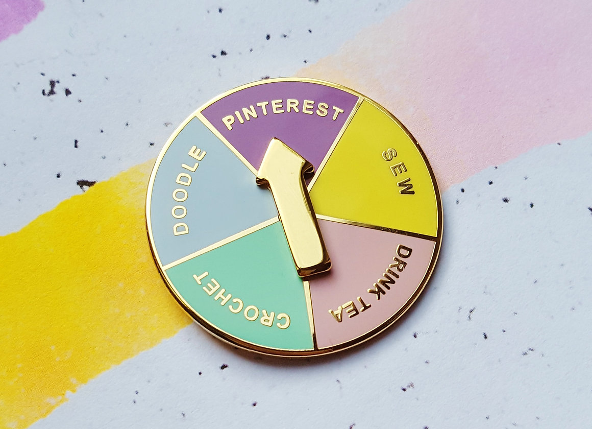 ORIGINAL Crafter's Decision-Maker SPINNING enamel pin