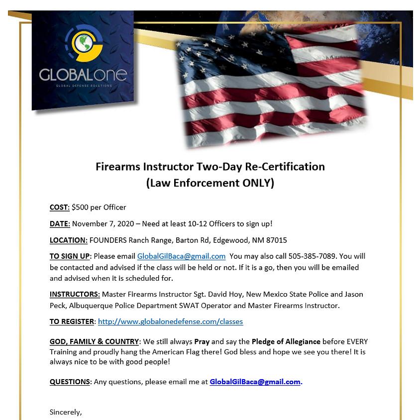 Law Enforcement Firearms Instructor Re-Certification