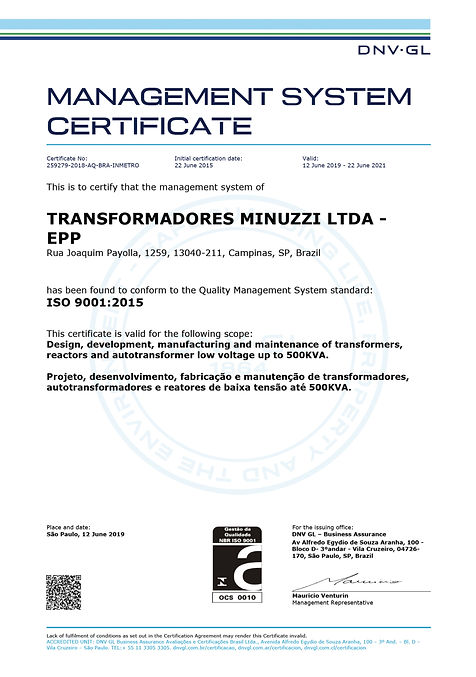 Certificacao - ISO 9001-2015 (Minuzzi) -