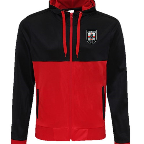 Bespoke Embroided Retro Hooded Track Top Black/Red