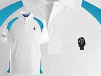 Discreet Fist Polo White/Cyan