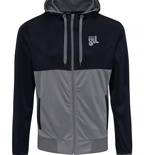 Bespoke Retro Printed Hooded Track Top French Navy/Grey