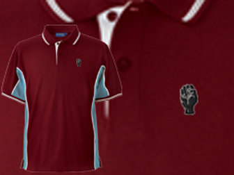 Discreet Fist Polo Wine/Sky/White