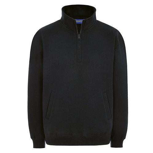 Bespoke Black Quarter Zip Embroided Sweats