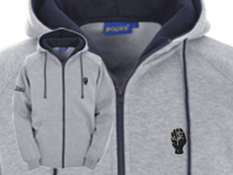 Discreet Fist Full Zip Hoodie Grey/Navy