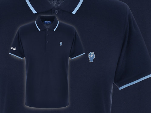 Retro Discreet Fist 3 Polo Navy/Sky