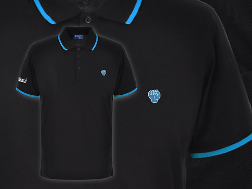 Retro Discreet Fist Polo Black/Cyan