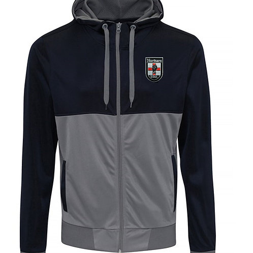 Bespoke Embroided Retro Hooded Track Top Navy/Grey