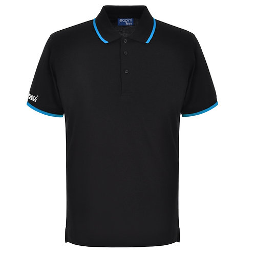 Bespoke Retro Black/Cyan Polo