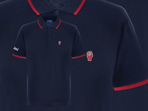 Retro Discreet Fist 3 Polo Navy/Red