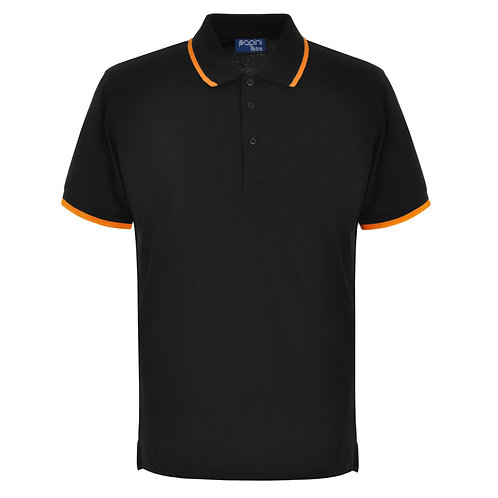 Elite Tipped Black-Orange Polo Shirt