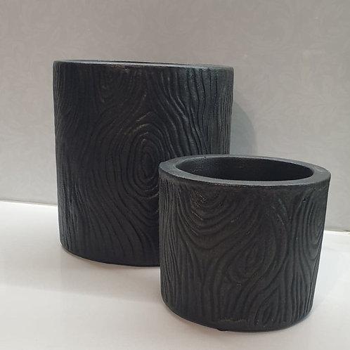 Black Timber look Cylinder Pots
