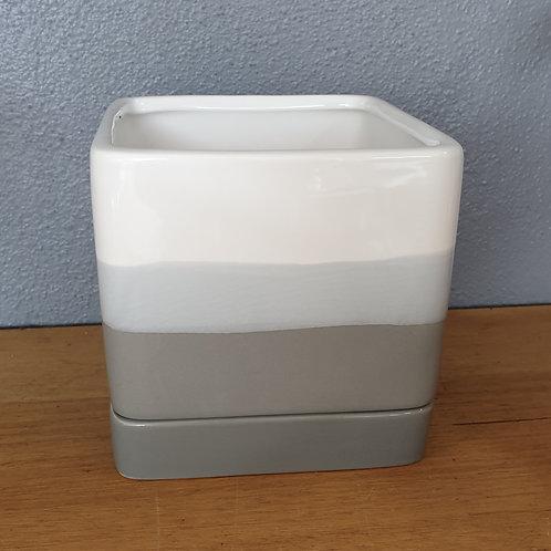 White grey square pot