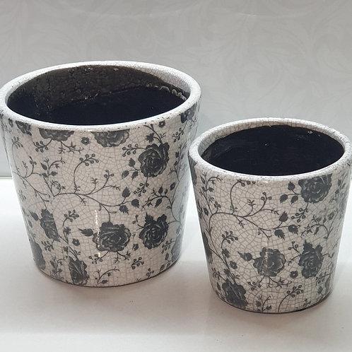 White / Black Rose Pot