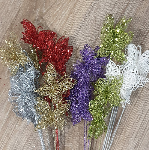 Glitter Butterfly Picks