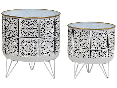 White & Black Moroccan Plater with Gold rim
