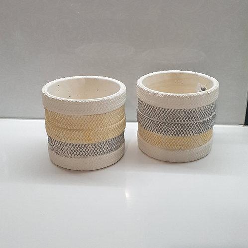 Ivory /Black/ Yellow Pot