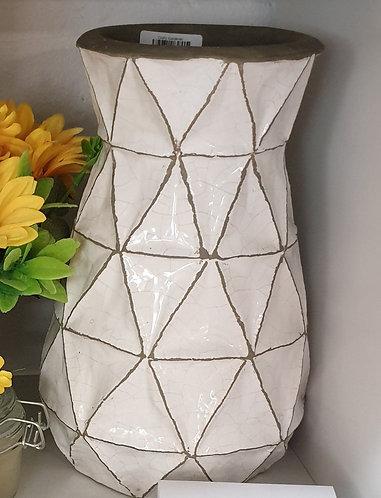 White / Grey Triangle Vase