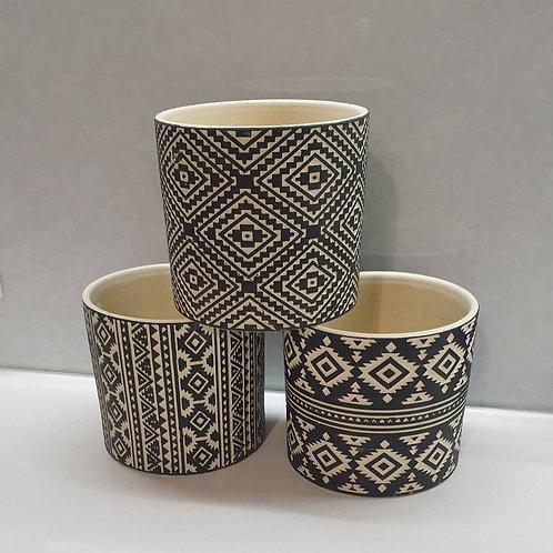 Black / Cream Geo pots